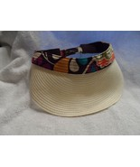 "Woman's Vera Bradley Straw Visor ""Plum Crazy"" hook & loop Adjustment  (#B) - $20.00"