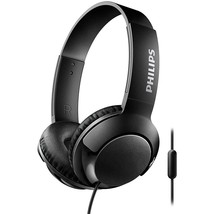 Philips SHL3075BK BASS+ Wired On-Ear Headphones with Microphone - Black - $46.36