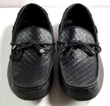 Mens Alfani Warren Black Leather Driver Loafers Size 10 M Slip On Shoes - $69.95