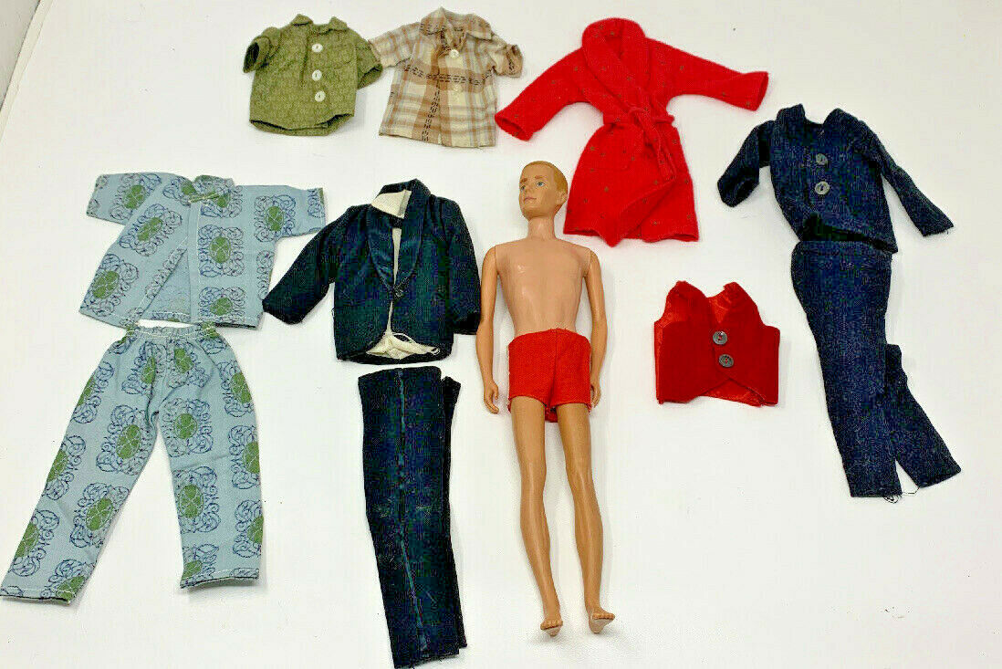 Primary image for 1961 VINTAGE BLONDE HAIR KEN DOLL #0750 W/ CLOTHES TUXEDO VEST ROBE 19-2822G