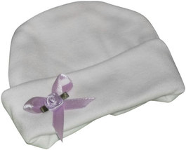Preemie & Newborn Baby Lavender Rose & Ribbon Hat  - $10.00