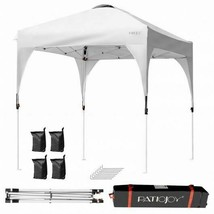 Durable 6.6 x 6.6 ' Pop Up Height Adjustable Canopy Tent w/Roller Bag-White - $185.39