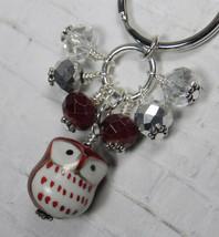 Brown Owl Cluster Keychain Ceramic Crystal Beaded Handmade Split Key Rin... - $14.54