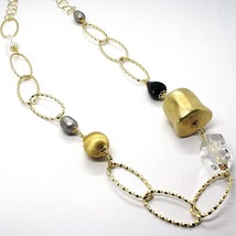SILVER 925 NECKLACE, YELLOW, ONYX, PEARLS GREY, OVALS TWISTED, 95 CM image 2