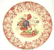 Royal Doulton Pomeroy Red Pink Luncheon Plate Davenport Engravings Flowers Urn  - $20.78
