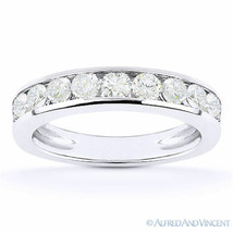 Round Cut Moissanite Channel-Set Anniversary Ring Wedding Band in 14k Wh... - $308.79