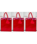 Set of 3 Hallmark Medium Red Purple Shimmer Heart Gift Bag with Rope Han... - $4.99