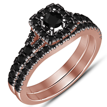 Rose Gold Plated Pure Sterling Silver Round Diamond Engagement Bridal Ring Set - $82.99