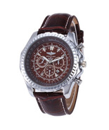 Luxury Men's Quartz Watch in Stainless Steel and Leather Strap in Black ... - $43.70