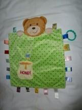 Taggies Peek A Boo Bear Full Back Baby Blanket Green Dots Honey 2 Bees Security - $19.79