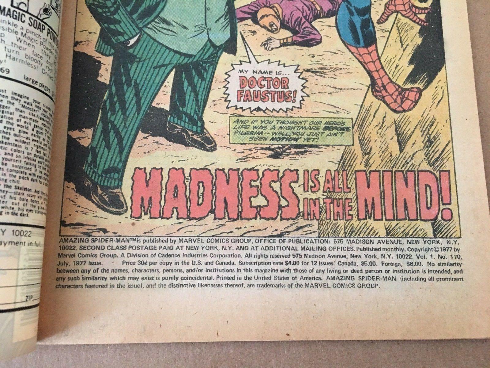 Amazing Spider-Man #170 Marvel Comic Book 1977 VF/VF+ Condition