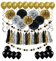 Black and Gold Party Decorations - Masquerade and Birthday Party Decorat... - $14.09