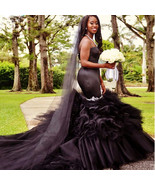 Black Mermaid Wedding Dress Vintange gothic Sweetheart Wedding Gowns - $499.99