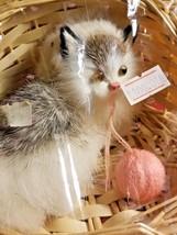 Adorable Realistic Like Grey White Kitten / Cat in Wicker Basket With Ya... - $29.99