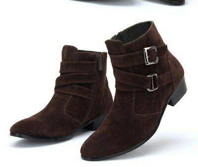 Suede Leather Brown Pointed Toe Superior Men High Ankle Buckle Straps Monk Boots