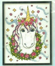 "Design Works Floral Unicorn #3366-HL Counted Cross Stitch Kit 5""x7"" USA SEALED - $16.63"