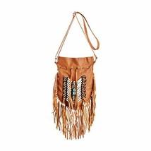 Beige Boho Bag | Real Leather | Fringe Purse | Bohemian Bags | Hobo Tote... - $88.28