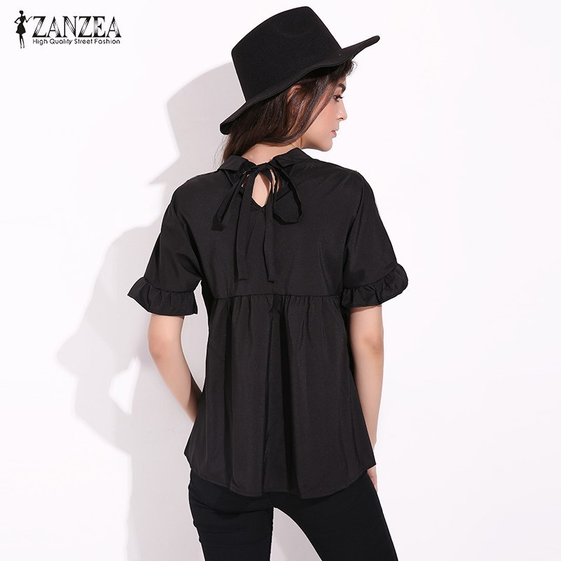 ZANZEA Women Elegant Sexy See Through Mesh Patchwork Short Sleeve Blouse Fashion