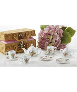 Delton Products Porcelain Multi Daisy Tea Set for Two, Brown Basket  8118-4 - £33.59 GBP