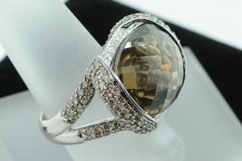 Custom CA 18K White Gold Large Smokey Quartz Ring w/ Cinnamon and White ... - $1,650.00