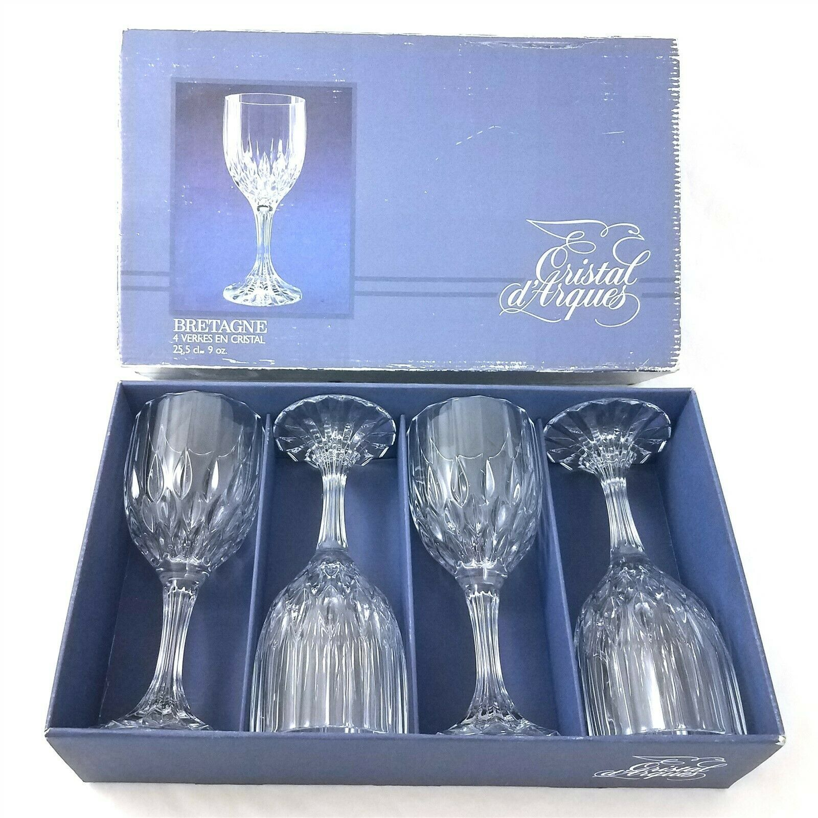 Cristal d'Arques Bretagne Lead Crystal Wine Glasses Set of 4 with Box 9 Oz - $34.64