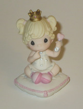 Lil Princess Precious Moments Baby Girl Crown Heart Rattle Bisque Porcel... - $25.73