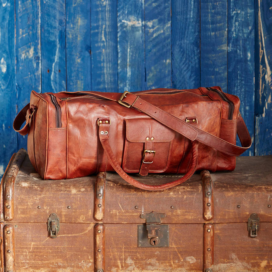 d806d0137c7b S l1600. S l1600. Previous. Vintage Lightweight Leather Cowhide Handmade  Luggage Duffle Gym Bags Travel bag