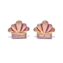 "Vintage Gold Scallop/Crystal 2/3"" Stud Earrings - $17.99"