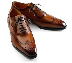 Genuine Leather Wing Tip Burnished Brown Color Casual Dress Lace Up Men Shoes - $139.90+