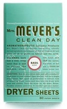 Mrs Meyers Clean Day 14448 Dryer Sheets, Basil Scent, 80 Count. - $14.84