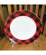 "Grace Teaware Red Tartan Plaid Christmas 10 1/2"" Dinner Plate NWT - $17.82"