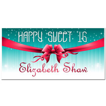 Red Bow Sweet Sixteen 16 Birthday Banner Personalized Party Backdrop - $22.28