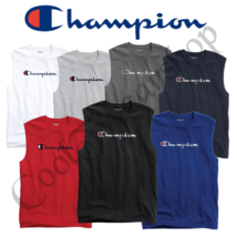 Authentic Champion Men's Jersey Script Logo Muscle Tee GT22H Y07718 - $15.26