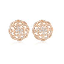 Cubic Zirconia Round Floral Earrings, 925 Silver Studs Gold, Rose Gold P... - $29.99
