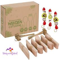 200 Wooden Utensils Wooden Cutlery Wooden Spoons Wooden Forks Wooden Kni... - $24.99