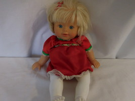 "Little Mommy Doll 13"" Red Dress Blonde Hair Lovey Blue eyes Vintage 2007... - $12.02"