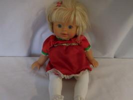 "Little Mommy Doll 13"" Red Dress Blonde Hair Lovey Blue eyes Vintage 2007 Mattel - $12.02"