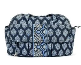 Vtg 90s Vera Bradley Fleur De Lis Shoulder Bag Diaper Cosmetic Tote Quil... - $9.89