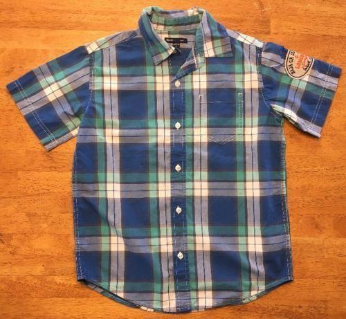 Gap Kids Boy's Blue, Green & White Plaid Short Sleeve Dress Shirt - Size: Medium