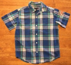 Gap Kids Boy's Blue, Green & White Plaid Short Sleeve Dress Shirt - Size... - $10.88