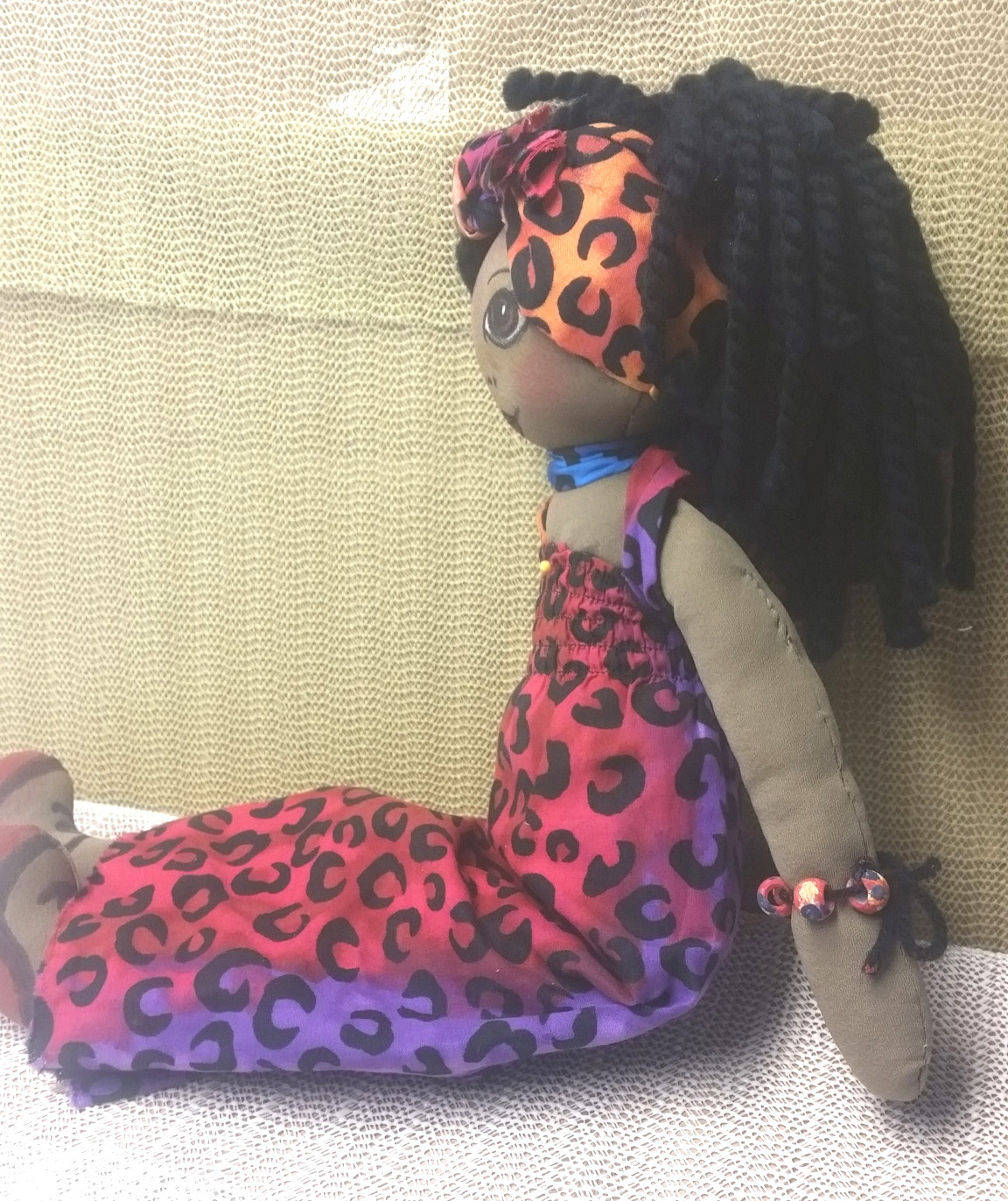 "Doll:  Zoe, Beautiful Handcrafted Black Rag Doll, 21""T, African American"