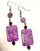 Purple Dyed Black Striped Shell with Jasper Black Crystal Beads Dangle E... - $10.00