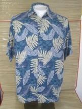 CAMPIA MODA Men Hawaiian ALOHA shirt pit to pit 22 rayon blue tropical l... - $14.69