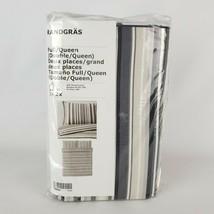 Ikea Randgras Full/Queen Duvet Cover 2 Pillowcases Bed Set White Gray St... - $57.22