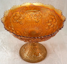 Carnival Glass Antique Fenton Marigold MIKADO Large Footed Compote Hard to Find - $99.00