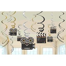 Amscan Movie Foil Swirl Hanging Decorations (36 Pack) Value Pack Party F... - $33.64