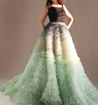 Women Tiered Maxi Tulle Skirt Wedding Bridal Train Skirt Outfit Evening Skirts image 2