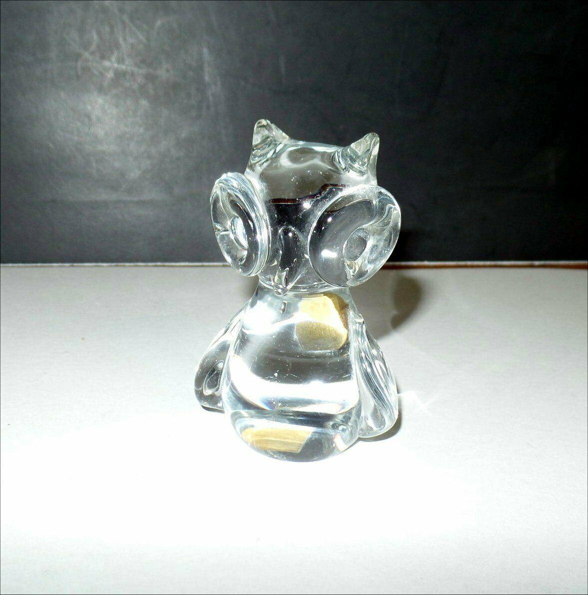 "VINTAGE Napcoware Studio Art Glass OWL  3.75"""