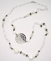 Collier Long 1 MT en Argent 925 Avec Hématite Agate Et Perles Fabriqué En Italie image 1