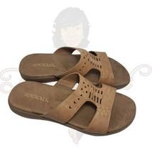 Aerosoles Wip Past Women's Tan Open Toe Backless Slide Flat Sandals Sz 8.5M - $44.88